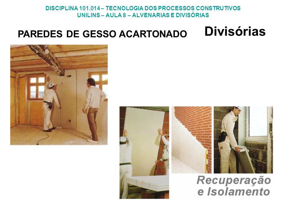 DISCIPLINA 101.014 – TECNOLOGIA DOS PROCESSOS CONSTRUTIVOS UNILINS – AULA 8 – ALVENARIAS E DIVISÓRIAS Divisórias PAREDES DE GESSO ACARTONADO