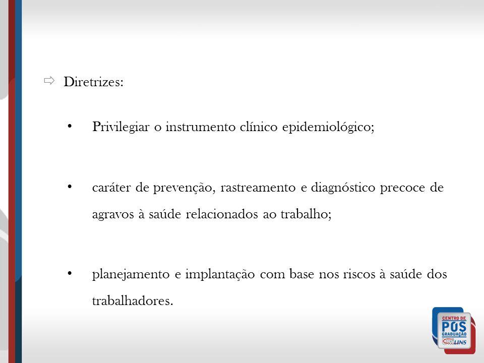Diretrizes: Privilegiar o instrumento clínico epidemiológico; caráter de prevenção, rastreamento e diagnóstico precoce de agravos à saúde relacionados