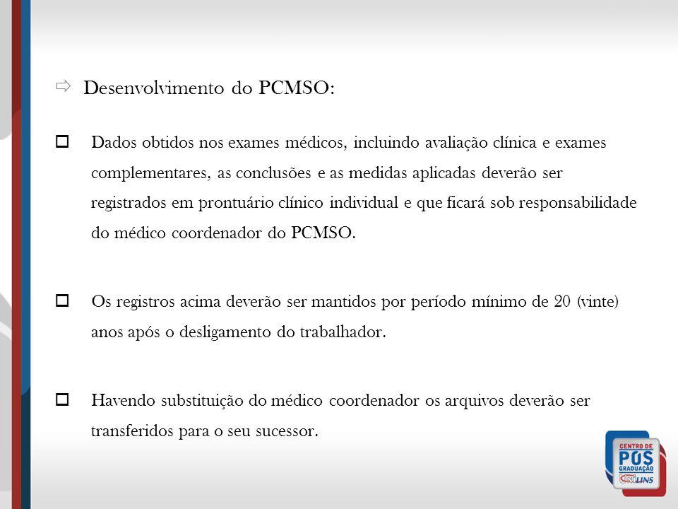 Desenvolvimento do PCMSO: Dados obtidos nos exames médicos, incluindo avaliação clínica e exames complementares, as conclusões e as medidas aplicadas
