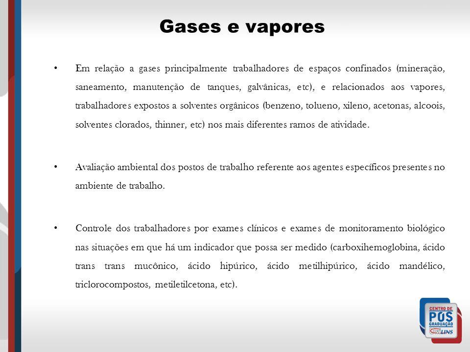 Gases e vapores Em relação a gases principalmente trabalhadores de espaços confinados (mineração, saneamento, manutenção de tanques, galvânicas, etc),
