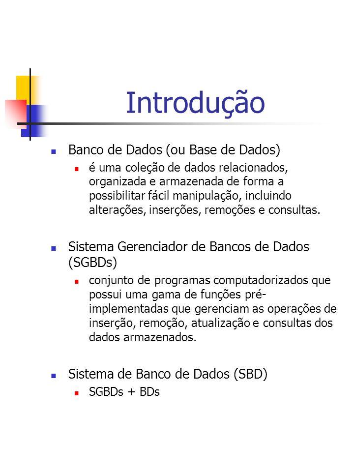 Introdução Banco de Dados (ou Base de Dados) é uma coleção de dados relacionados, organizada e armazenada de forma a possibilitar fácil manipulação, incluindo alterações, inserções, remoções e consultas.