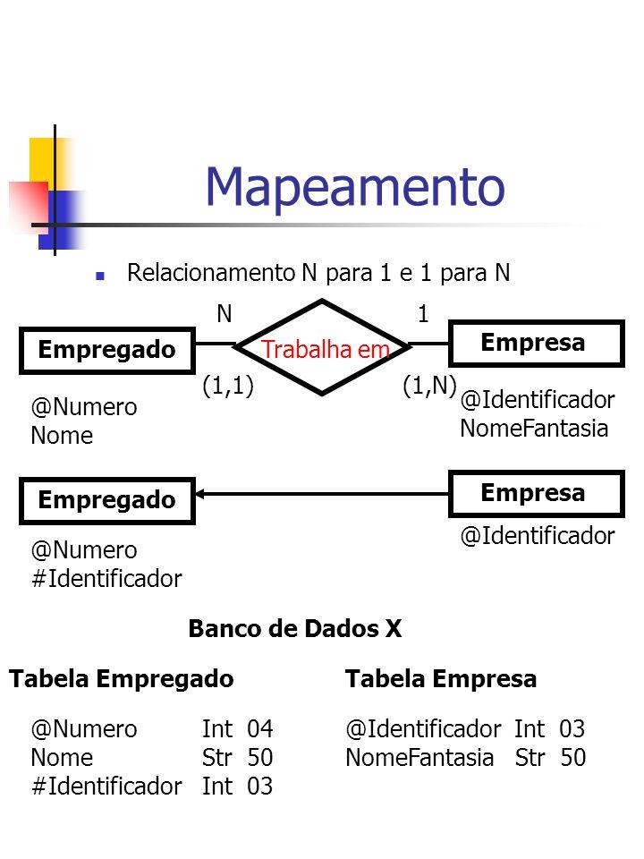 Mapeamento Relacionamento N para 1 e 1 para N Empregado Empresa Trabalha em N1 (1,1)(1,N) Empregado Empresa @Numero Nome @Identificador NomeFantasia @Numero #Identificador Banco de Dados X Tabela Empregado @NumeroInt 04 NomeStr 50 #IdentificadorInt 03 Tabela Empresa @Identificador Int 03 NomeFantasia Str 50 @Identificador