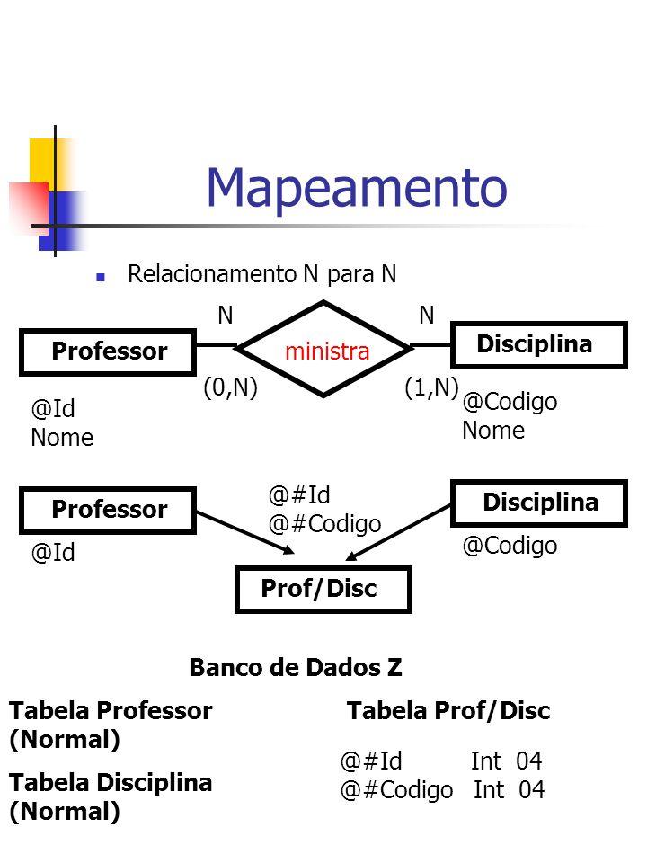 Mapeamento Relacionamento N para N Professor Disciplina ministra NN (0,N)(1,N) @Id Nome @Codigo Nome Banco de Dados Z Tabela Professor (Normal) Tabela Prof/Disc @#Id Int 04 @#Codigo Int 04 Professor Disciplina Prof/Disc @Id @Codigo @#Id @#Codigo Tabela Disciplina (Normal)