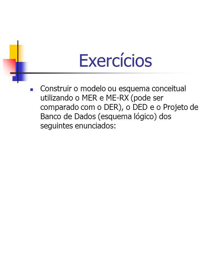 Exercícios Construir o modelo ou esquema conceitual utilizando o MER e ME-RX (pode ser comparado com o DER), o DED e o Projeto de Banco de Dados (esquema lógico) dos seguintes enunciados: