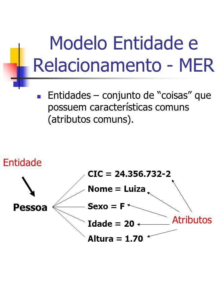 Modelo Entidade e Relacionamento - MER Entidades – conjunto de coisas que possuem características comuns (atributos comuns).