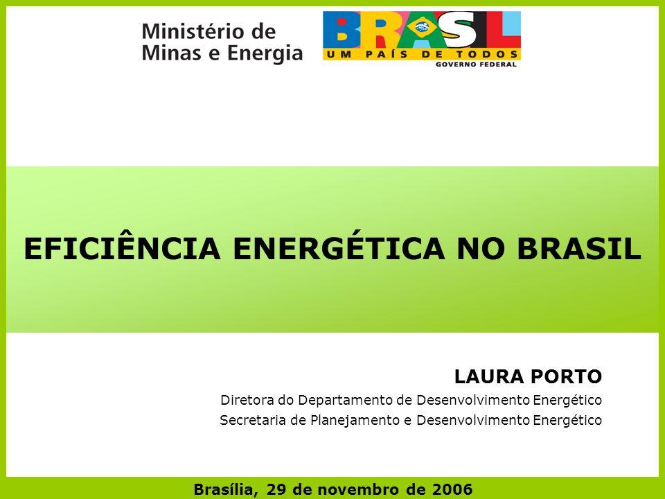 EFICIÊNCIA ENERGÉTICA NO BRASIL Brasília, 29 de novembro de 2006 LAURA PORTO Diretora do Departamento de Desenvolvimento Energético Secretaria de Planejamento e Desenvolvimento Energético
