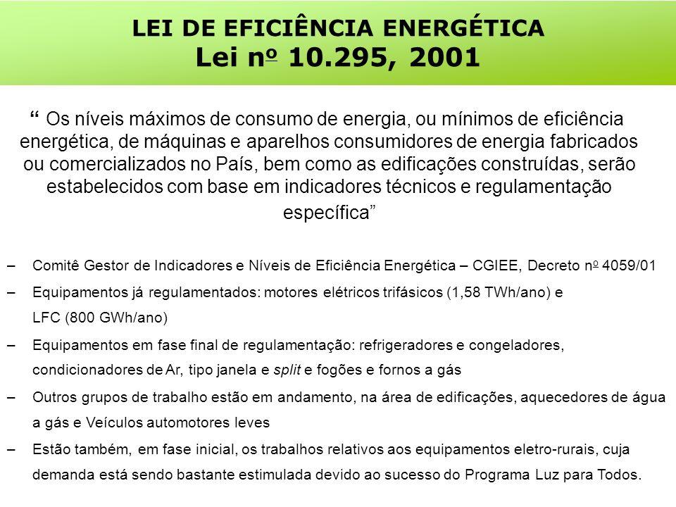 LEI DE EFICIÊNCIA ENERGÉTICA Lei n o 10.295, 2001 Os níveis máximos de consumo de energia, ou mínimos de eficiência energética, de máquinas e aparelhos consumidores de energia fabricados ou comercializados no País, bem como as edificações construídas, serão estabelecidos com base em indicadores técnicos e regulamentação específica –Comitê Gestor de Indicadores e Níveis de Eficiência Energética – CGIEE, Decreto n o 4059/01 –Equipamentos já regulamentados: motores elétricos trifásicos (1,58 TWh/ano) e LFC (800 GWh/ano) –Equipamentos em fase final de regulamentação: refrigeradores e congeladores, condicionadores de Ar, tipo janela e split e fogões e fornos a gás –Outros grupos de trabalho estão em andamento, na área de edificações, aquecedores de água a gás e Veículos automotores leves –Estão também, em fase inicial, os trabalhos relativos aos equipamentos eletro-rurais, cuja demanda está sendo bastante estimulada devido ao sucesso do Programa Luz para Todos.