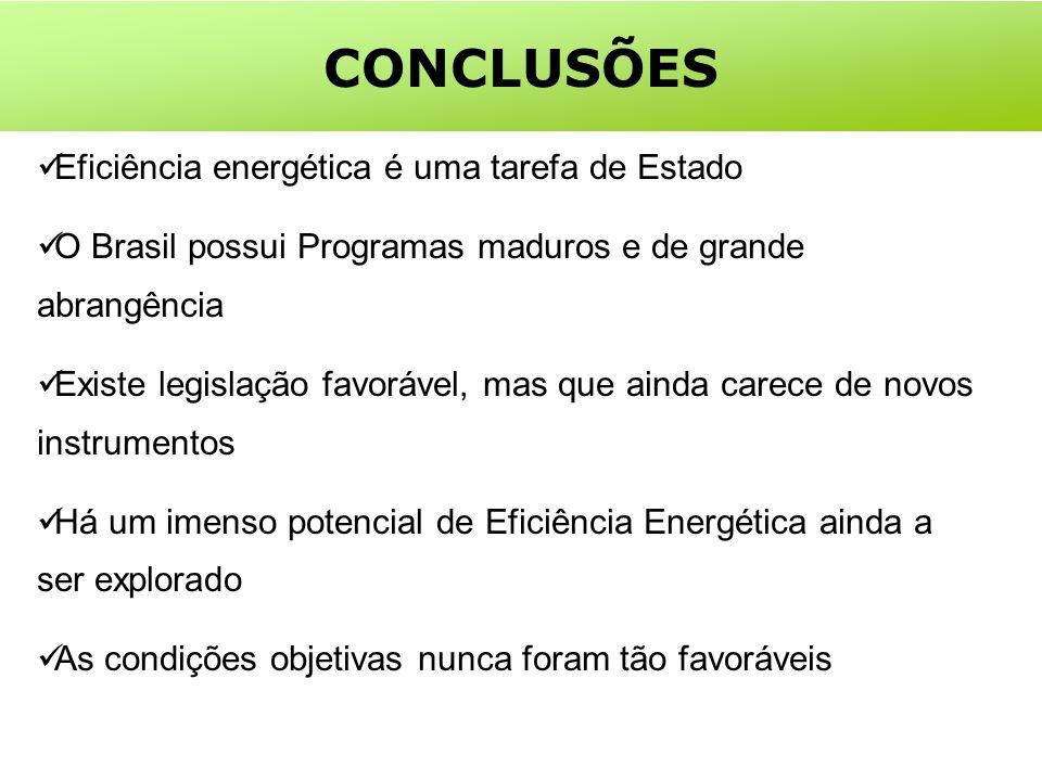 Eficiência energética é uma tarefa de Estado O Brasil possui Programas maduros e de grande abrangência Existe legislação favorável, mas que ainda carece de novos instrumentos Há um imenso potencial de Eficiência Energética ainda a ser explorado As condições objetivas nunca foram tão favoráveis CONCLUSÕES