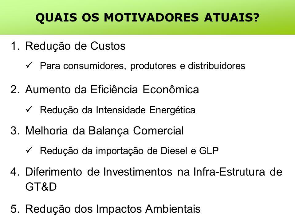 1.Redução de Custos Para consumidores, produtores e distribuidores 2.Aumento da Eficiência Econômica Redução da Intensidade Energética 3.Melhoria da Balança Comercial Redução da importação de Diesel e GLP 4.Diferimento de Investimentos na Infra-Estrutura de GT&D 5.Redução dos Impactos Ambientais QUAIS OS MOTIVADORES ATUAIS?