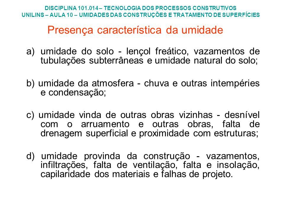 DISCIPLINA 101.014 – TECNOLOGIA DOS PROCESSOS CONSTRUTIVOS UNILINS – AULA 10 – UMIDADES DAS CONSTRUÇÕES E TRATAMENTO DE SUPERFÍCIES Solução 3 - idem solução 2