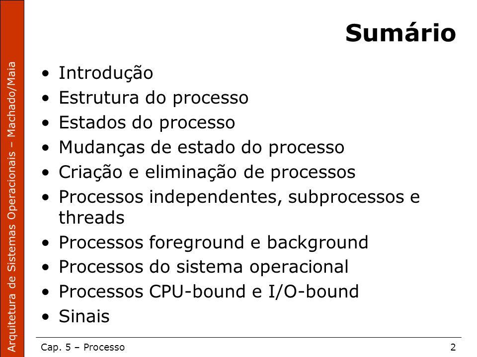 Arquitetura de Sistemas Operacionais – Machado/Maia Cap. 5 – Processo2 Sumário Introdução Estrutura do processo Estados do processo Mudanças de estado