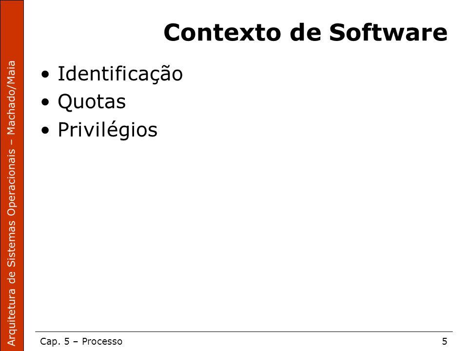 Arquitetura de Sistemas Operacionais – Machado/Maia Cap. 5 – Processo5 Contexto de Software Identificação Quotas Privilégios