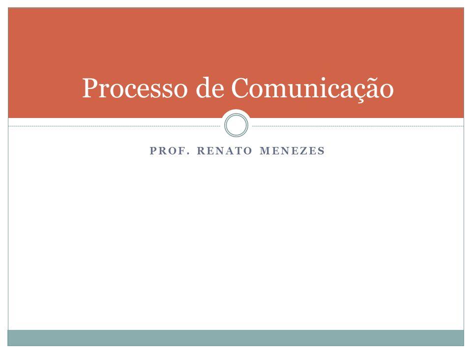 PROF. RENATO MENEZES Processo de Comunicação