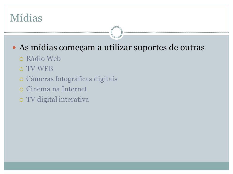 Mídias As mídias começam a utilizar suportes de outras Rádio Web TV WEB Câmeras fotográficas digitais Cinema na Internet TV digital interativa