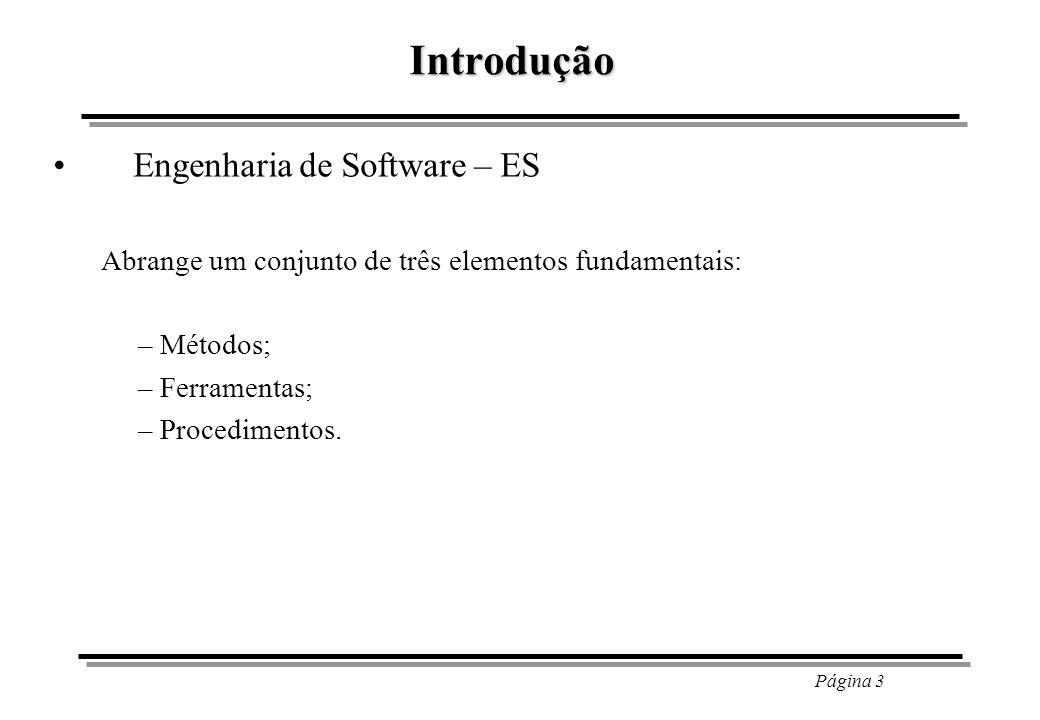 Página 4 Introdução – Métodos; Proporcionam os detalhes de como fazer para construir um sw.
