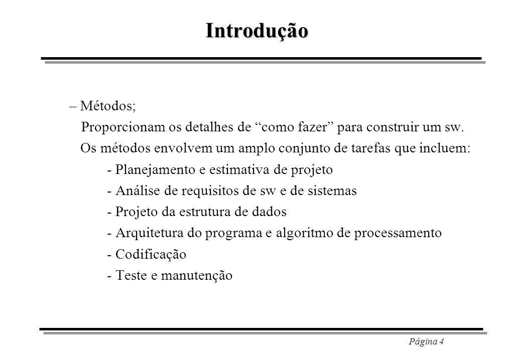 Página 5 Introdução – Ferramentas; Proporcionam apoio automatizado ou semi-automatizado aos métodos.