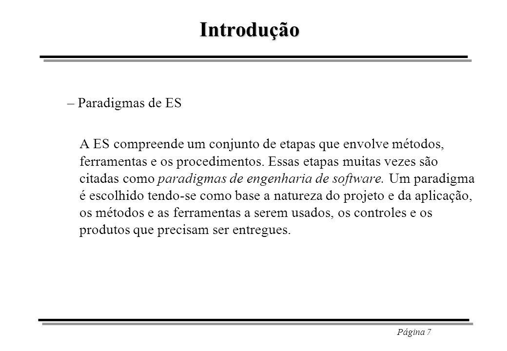 Página 8 Introdução – Paradigmas de ES - Ciclo de Vida Clássico; Engenharia de Sistemas Análise de Requisitos ProjetoProjeto CodificaçãoCodificação TestesTestes ManutençãoManutenção