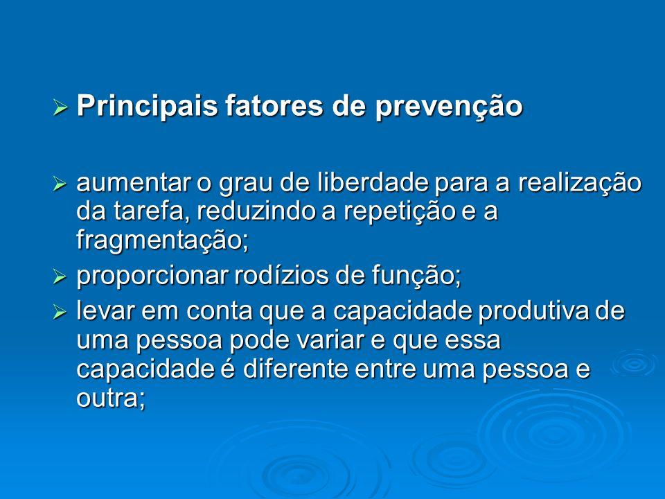 Principais fatores de prevenção Principais fatores de prevenção aumentar o grau de liberdade para a realização da tarefa, reduzindo a repetição e a fr