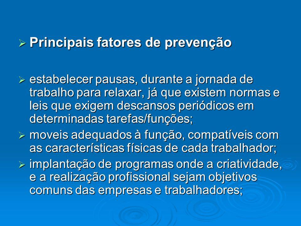 Principais fatores de prevenção Principais fatores de prevenção estabelecer pausas, durante a jornada de trabalho para relaxar, já que existem normas