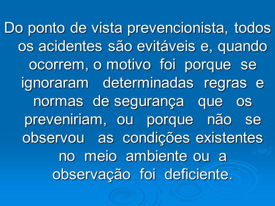 Do ponto de vista prevencionista, todos os acidentes são evitáveis e, quando ocorrem, o motivo foi porque se ignoraram determinadas regras e normas de