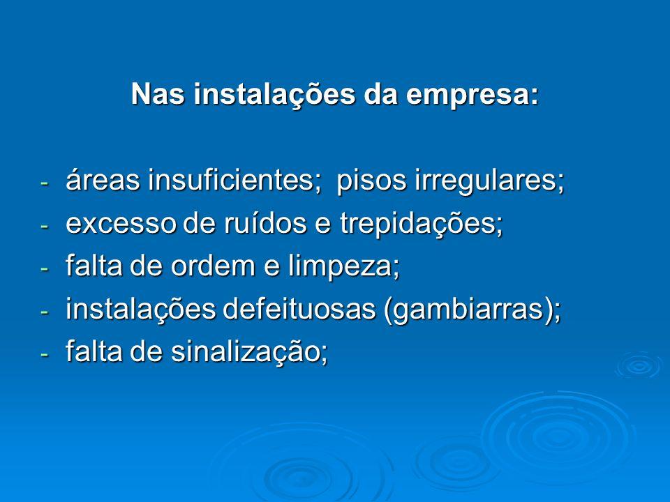 Nas instalações da empresa: - áreas insuficientes; pisos irregulares; - excesso de ruídos e trepidações; - falta de ordem e limpeza; - instalações def