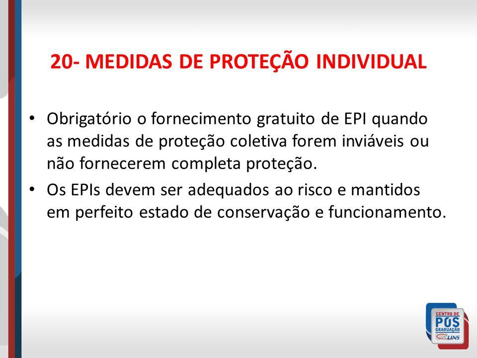 20- MEDIDAS DE PROTEÇÃO INDIVIDUAL O empregador deve orientar o empregado sobre uso correto de EPI e exigir o seu uso.