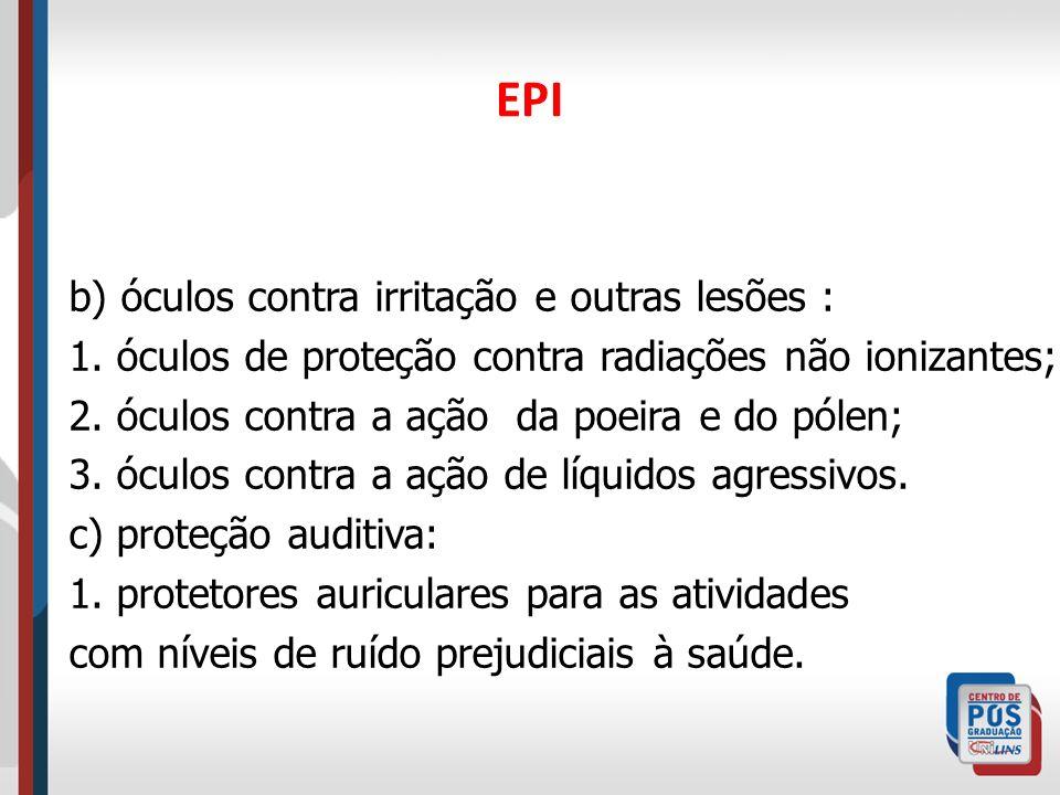 EPI d) proteção das vias respiratórias: 1.