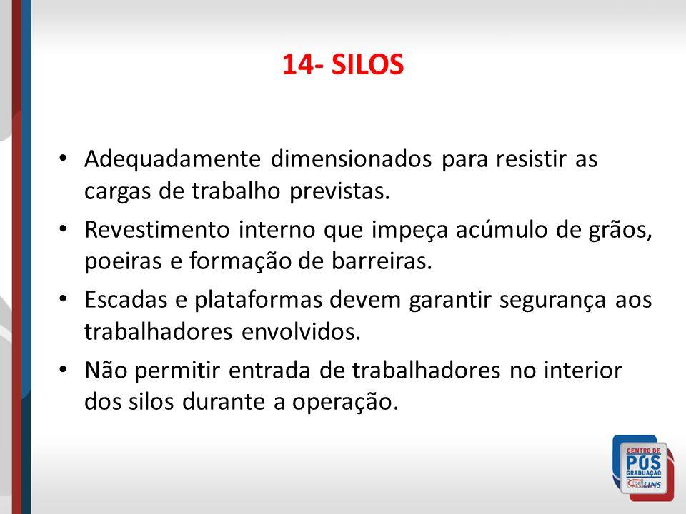 14- SILOS Garantir a ventilação na operação e controlar a concentração de O2 e níveis de explosividade.