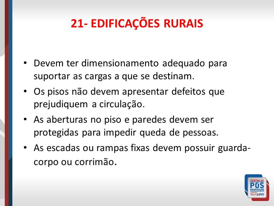 22- INSTALAÇÕES ELÉTRICAS Todas as partes das instalações elétricas devem estar protegidas contra choque elétrico ou outro tipo de acidentes.