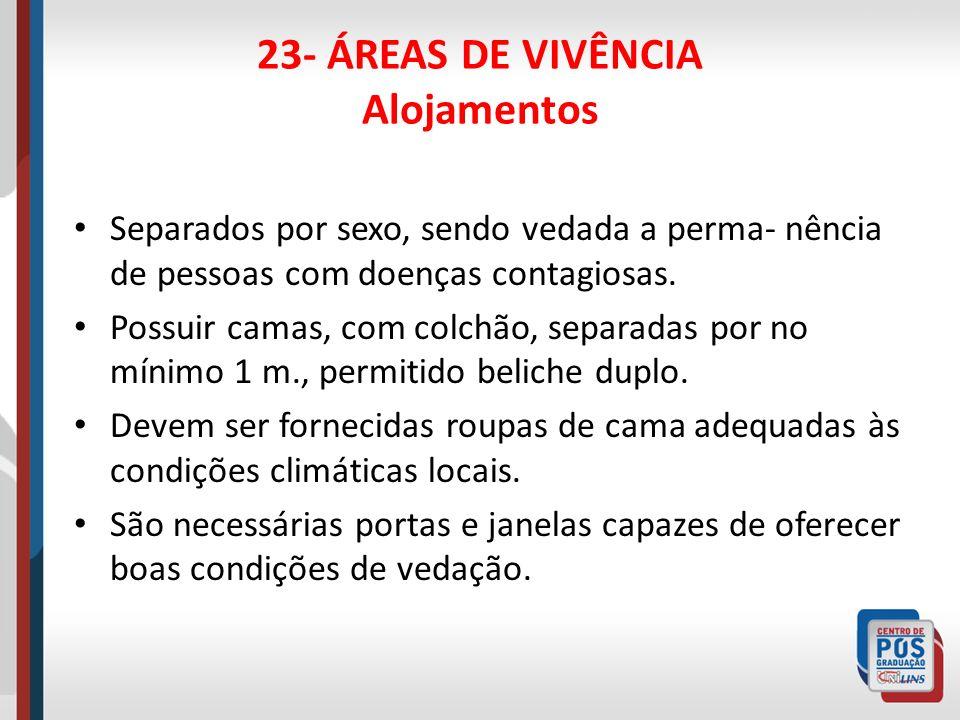 23- ÁREAS DE VIVÊNCIA Alojamentos As camas poderão ser substituídas por rede, conforme os costumes locais, obedecendo espaçamento mínimo de 1 m.