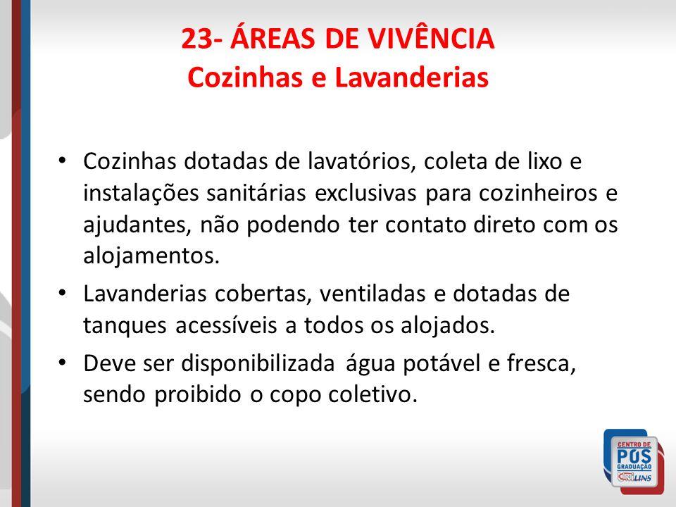 23- ÁREAS DE VIVÊNCIA Moradias Adequadamente dimensionadas para uma família e com boas condições sanitárias.