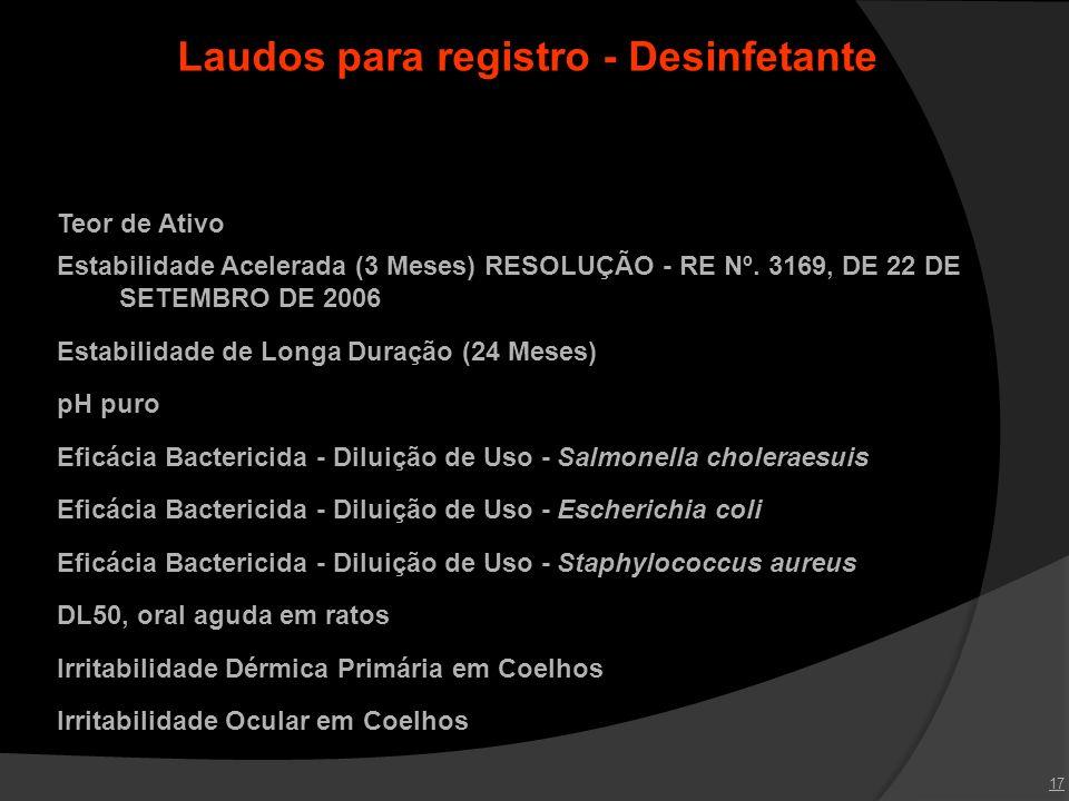 17 Laudos para registro - Desinfetante Teor de Ativo Estabilidade Acelerada (3 Meses) RESOLUÇÃO - RE Nº. 3169, DE 22 DE SETEMBRO DE 2006 Estabilidade