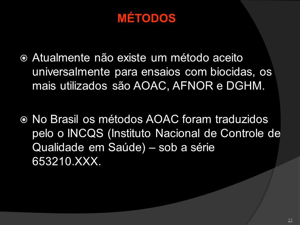 23 MÉTODOS Atualmente não existe um método aceito universalmente para ensaios com biocidas, os mais utilizados são AOAC, AFNOR e DGHM. No Brasil os mé