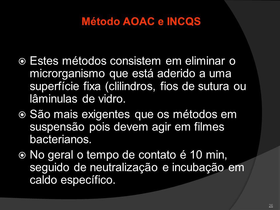 26 Método AOAC e INCQS Estes métodos consistem em eliminar o microrganismo que está aderido a uma superfície fixa (clilindros, fios de sutura ou lâmin
