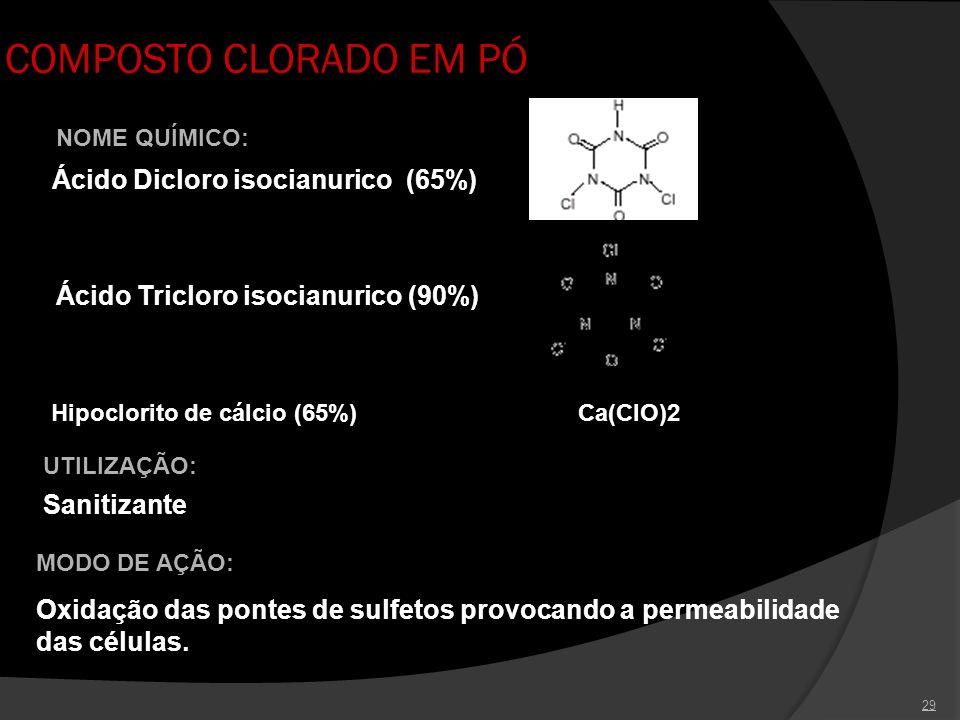 29 COMPOSTO CLORADO EM PÓ UTILIZAÇÃO: Sanitizante NOME QUÍMICO: Ácido Dicloro isocianurico (65%) Ácido Tricloro isocianurico (90%) Hipoclorito de cálc