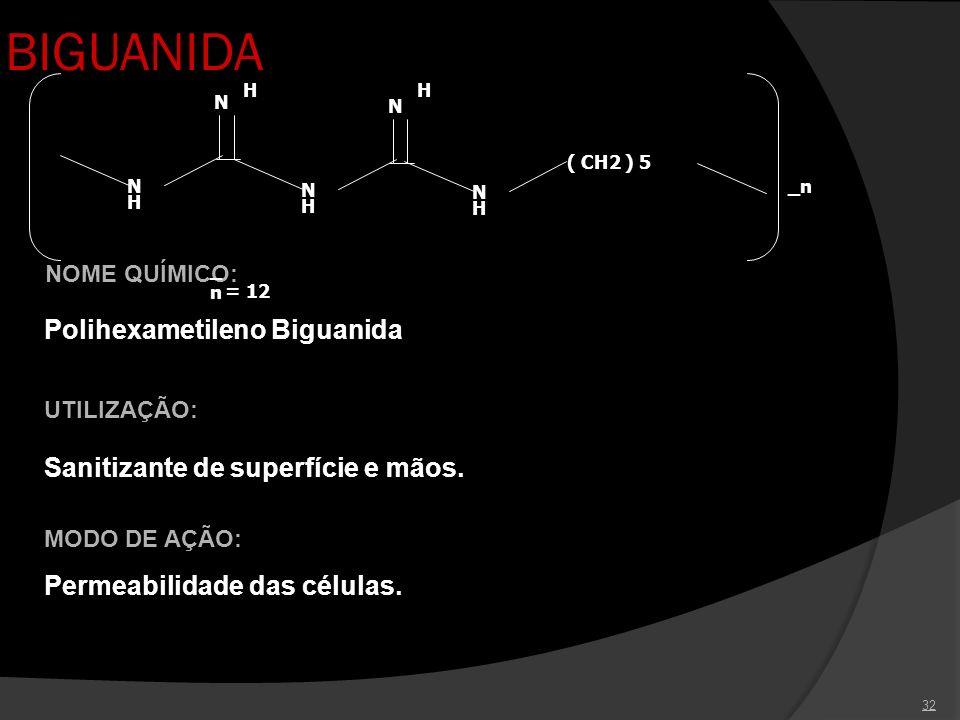 32 BIGUANIDA UTILIZAÇÃO: Sanitizante de superfície e mãos. NOME QUÍMICO: Polihexametileno Biguanida _n_n = 12 N H N H N H N H N H ( CH2 ) 5 _n MODO DE