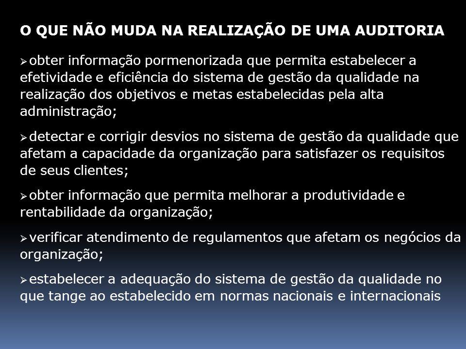 O QUE NÃO MUDA NA REALIZAÇÃO DE UMA AUDITORIA obter informação pormenorizada que permita estabelecer a efetividade e eficiência do sistema de gestão d