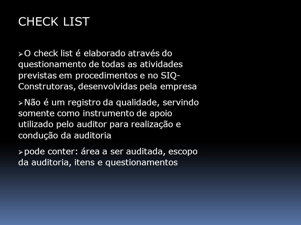 CHECK LIST O check list é elaborado através do questionamento de todas as atividades previstas em procedimentos e no SIQ- Construtoras, desenvolvidas
