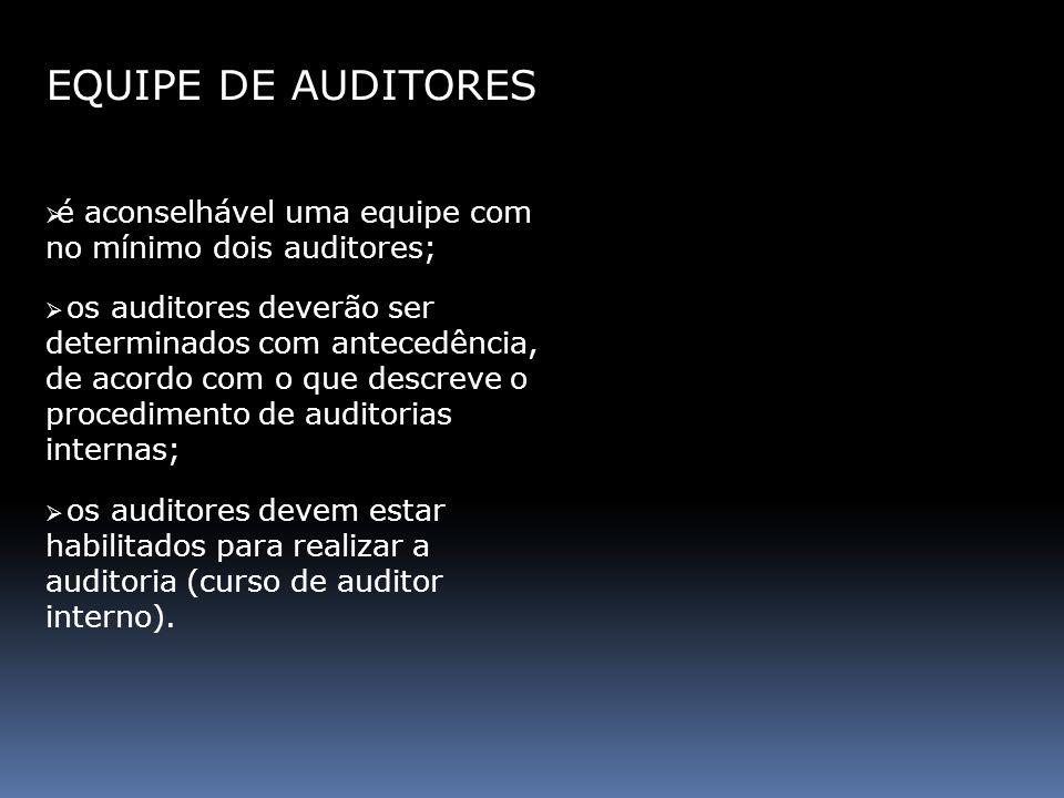 EQUIPE DE AUDITORES é aconselhável uma equipe com no mínimo dois auditores; os auditores deverão ser determinados com antecedência, de acordo com o qu