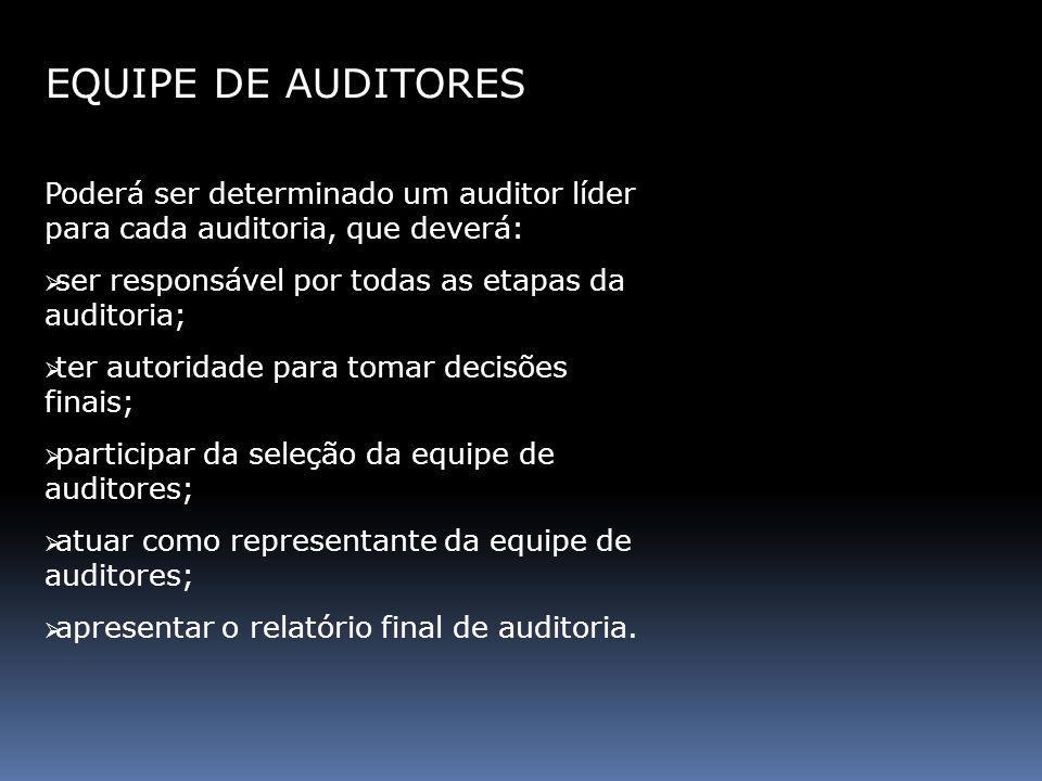 EQUIPE DE AUDITORES Poderá ser determinado um auditor líder para cada auditoria, que deverá: ser responsável por todas as etapas da auditoria; ter aut