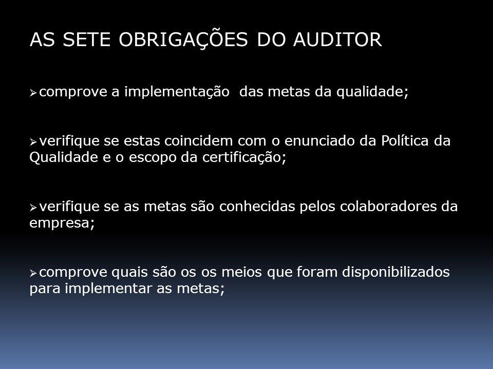 AS SETE OBRIGAÇÕES DO AUDITOR comprove a implementação das metas da qualidade; verifique se estas coincidem com o enunciado da Política da Qualidade e