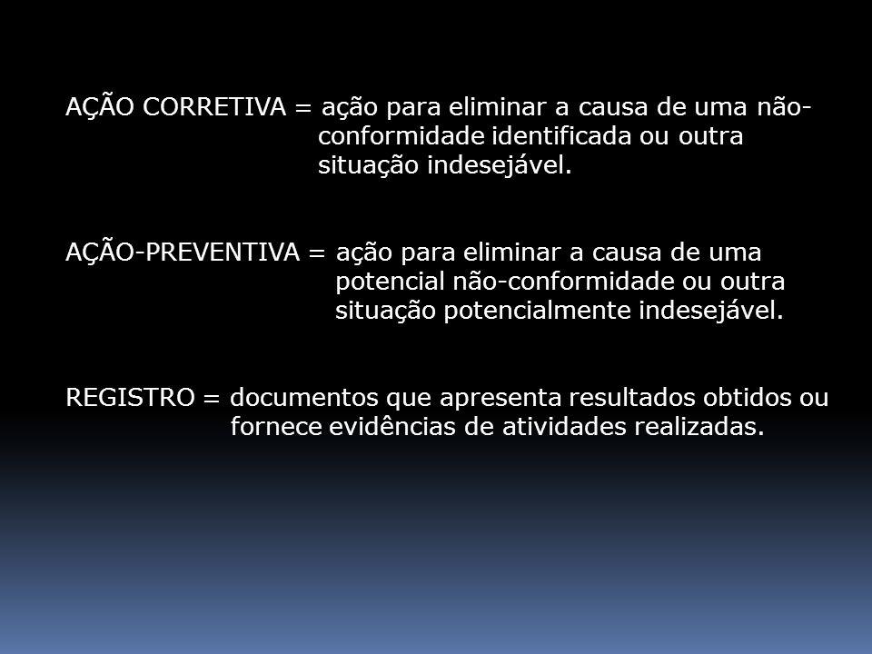 AÇÃO CORRETIVA = ação para eliminar a causa de uma não- conformidade identificada ou outra situação indesejável. AÇÃO-PREVENTIVA = ação para eliminar