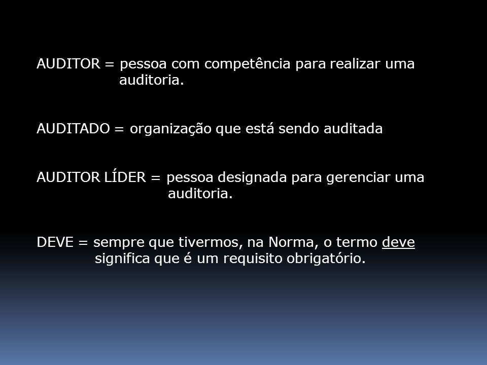 AUDITOR = pessoa com competência para realizar uma auditoria. AUDITADO = organização que está sendo auditada AUDITOR LÍDER = pessoa designada para ger