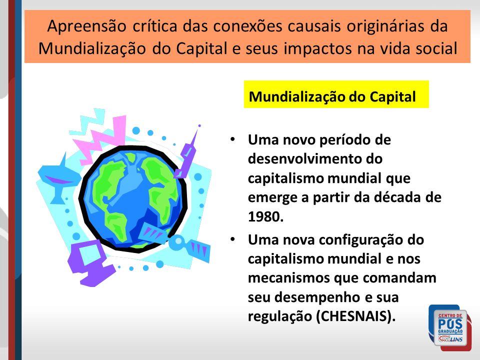 Na verdade, estamos diante de um novo regime de acumulação capitalista, um novo patamar do processo de internacionalização do capital, com características próprias e particulares se comparada com etapas anteriores do desenvolvimento do capitalismo (ALVES).