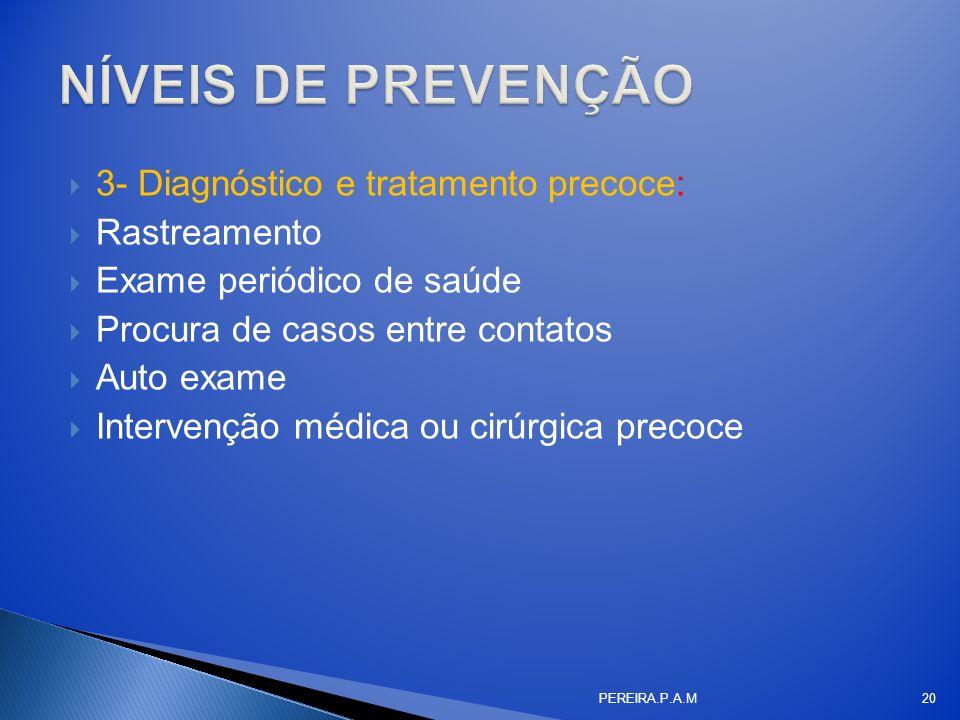 3- Diagnóstico e tratamento precoce: Rastreamento Exame periódico de saúde Procura de casos entre contatos Auto exame Intervenção médica ou cirúrgica