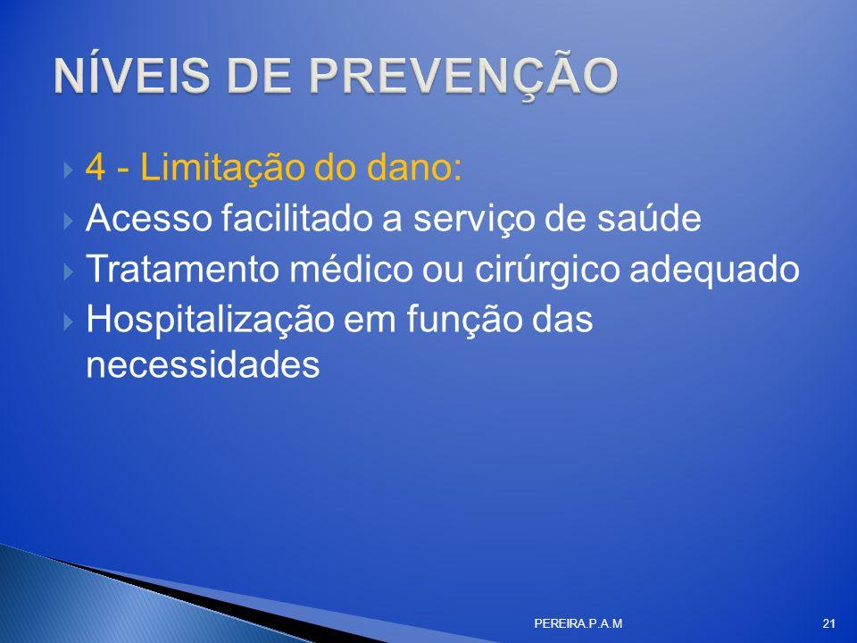 4 - Limitação do dano: Acesso facilitado a serviço de saúde Tratamento médico ou cirúrgico adequado Hospitalização em função das necessidades PEREIRA.