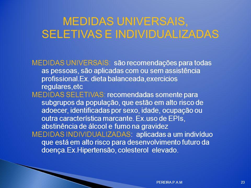 MEDIDAS UNIVERSAIS, SELETIVAS E INDIVIDUALIZADAS MEDIDAS UNIVERSAIS: são recomendações para todas as pessoas, são aplicadas com ou sem assistência pro