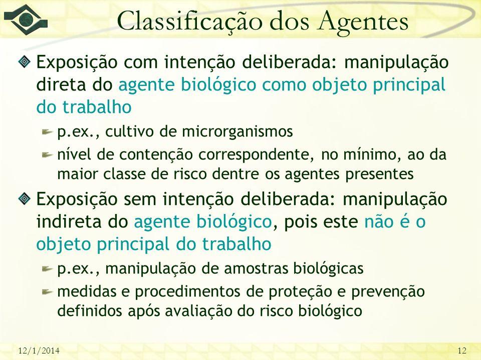 12/1/201412 Classificação dos Agentes Exposição com intenção deliberada: manipulação direta do agente biológico como objeto principal do trabalho p.ex