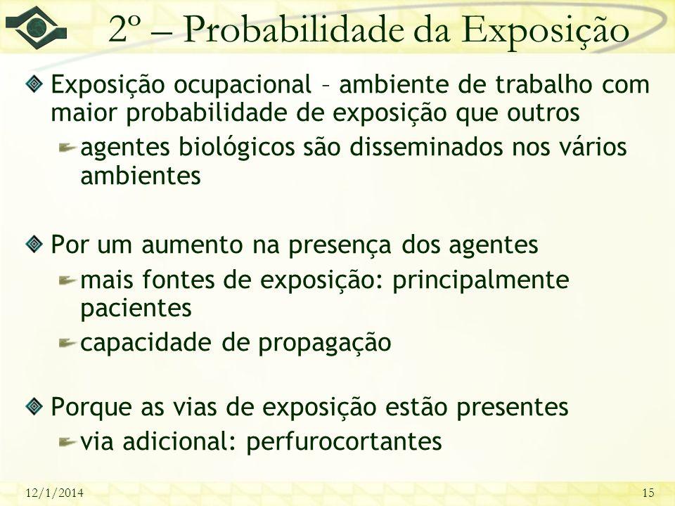 12/1/201415 2º – Probabilidade da Exposição Exposição ocupacional – ambiente de trabalho com maior probabilidade de exposição que outros agentes bioló