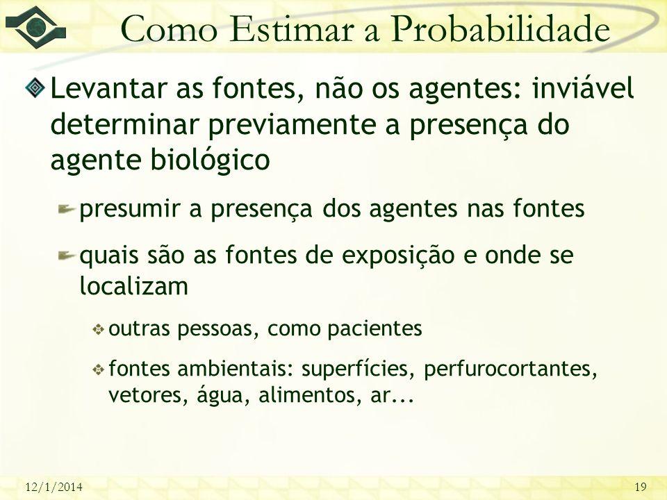 12/1/201419 Como Estimar a Probabilidade Levantar as fontes, não os agentes: inviável determinar previamente a presença do agente biológico presumir a